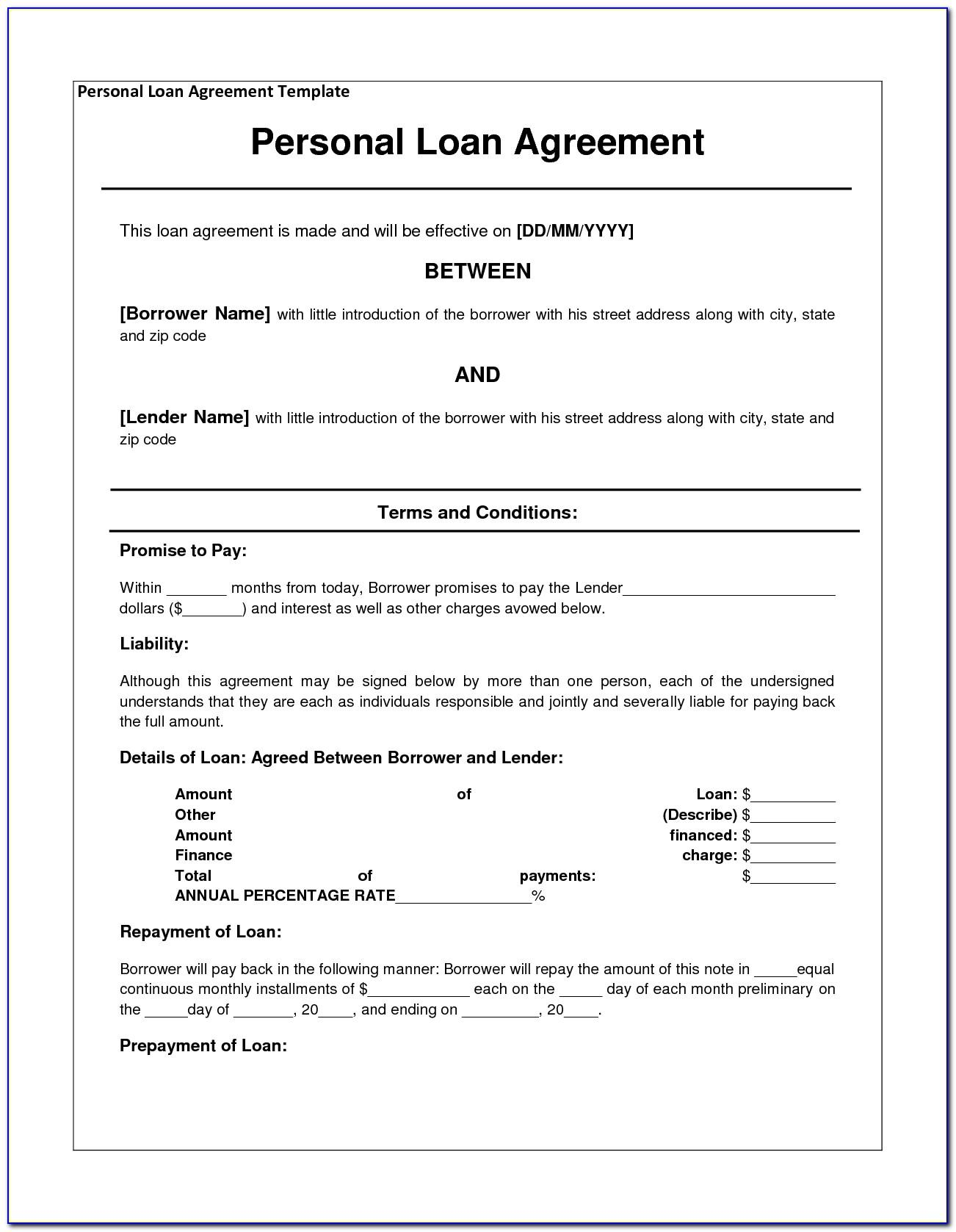 Template For Blank Promissory Note
