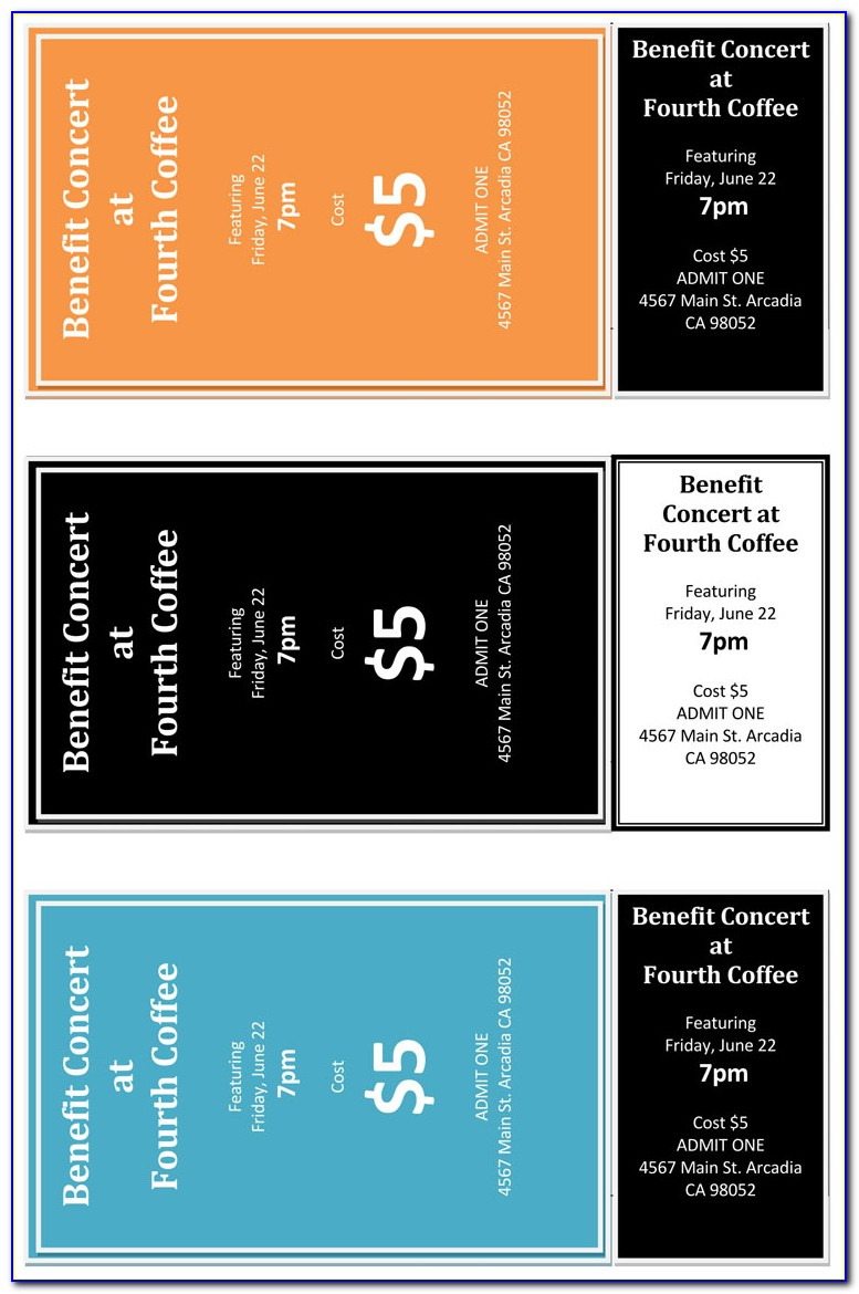 Template For Concert Ticket Invitation