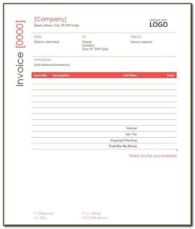 Template For Contractor Invoice