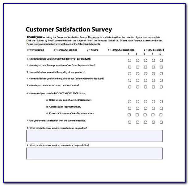 Template For Customer Service Survey