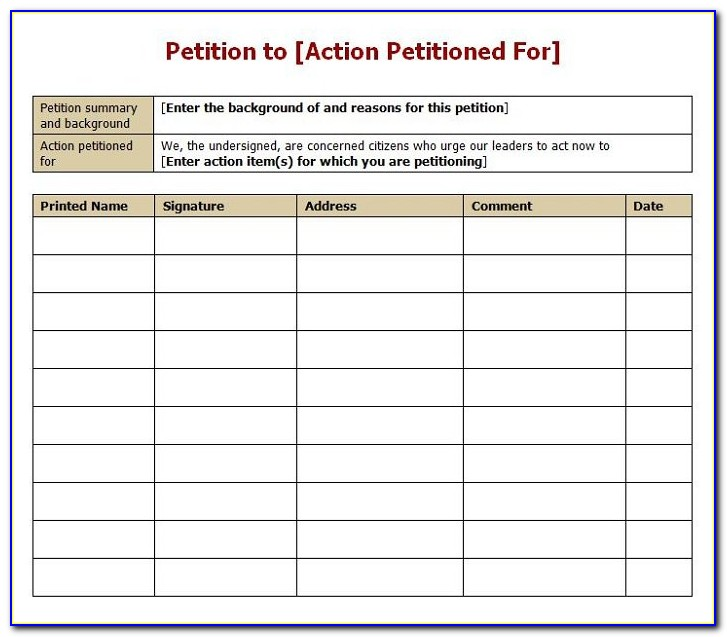 Template For Divorce Petition