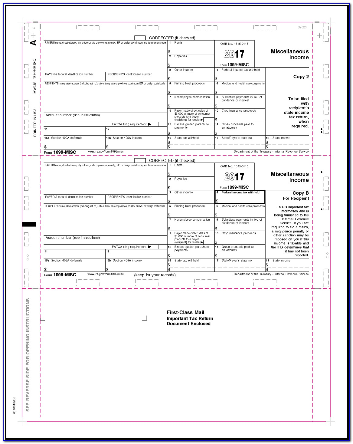 Template For Preprinted 1099 Forms
