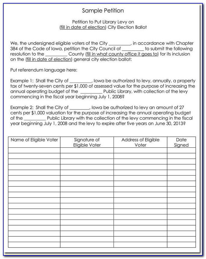 Template For Writing A Petition