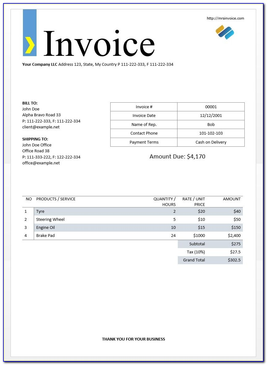 Template Invoice Word Doc
