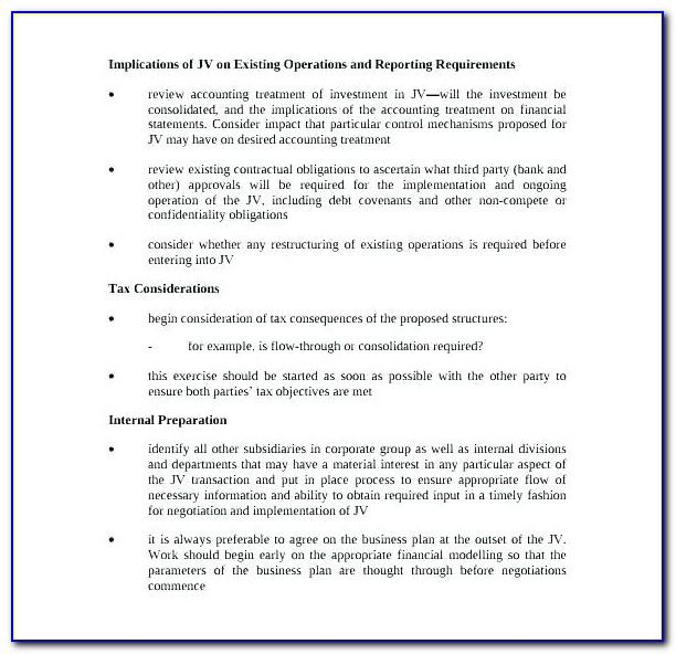 Template Joint Venture Agreement Uk