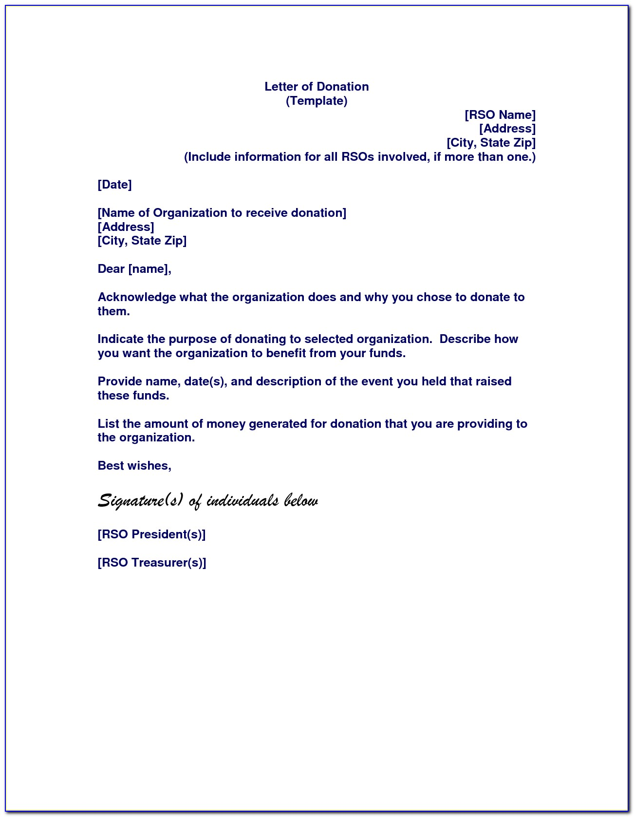 Template Letter For Charity Donation