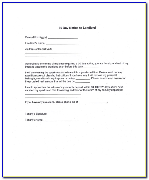 Template Of 30 Day Notice To Landlord
