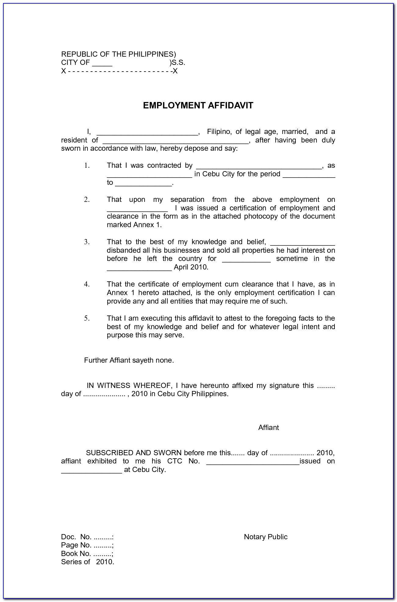 Template Of Affidavit Of Support