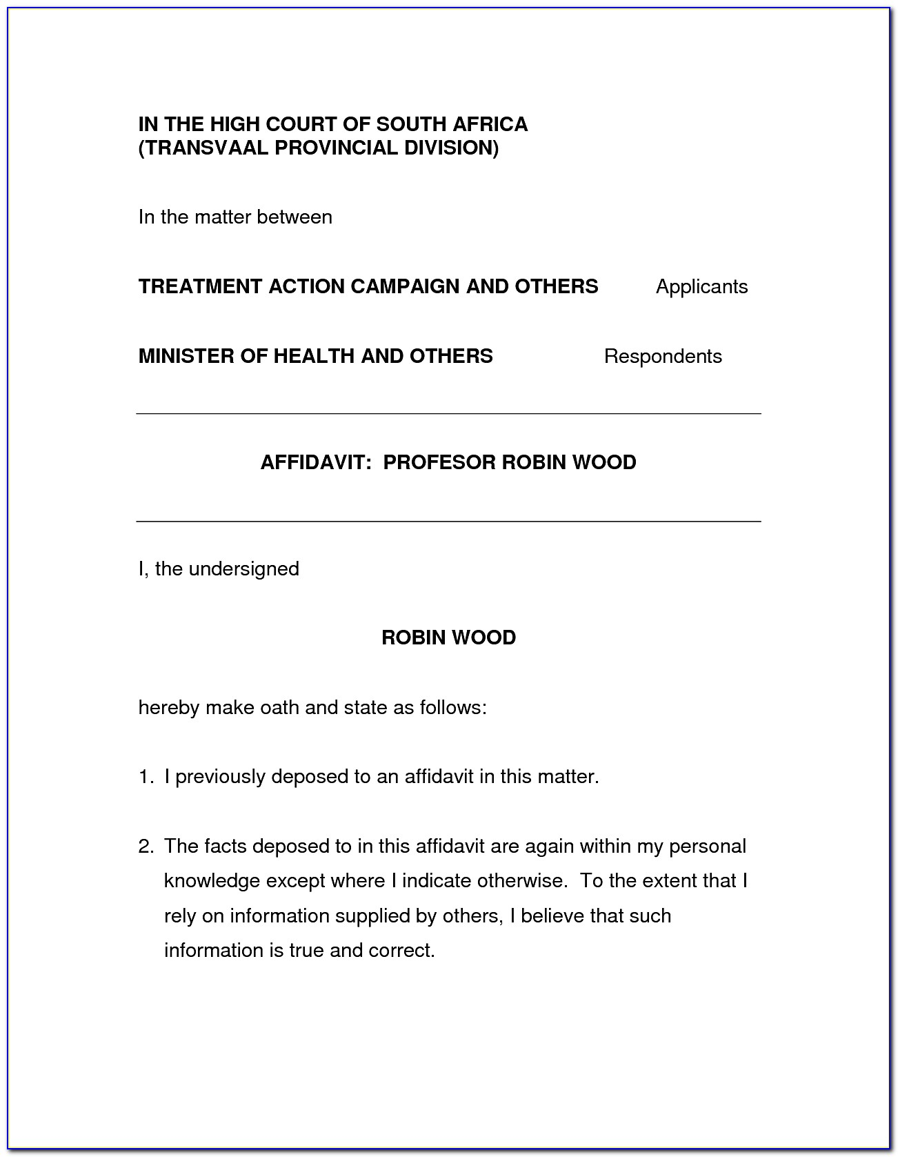 Template Of An Affidavit South Africa