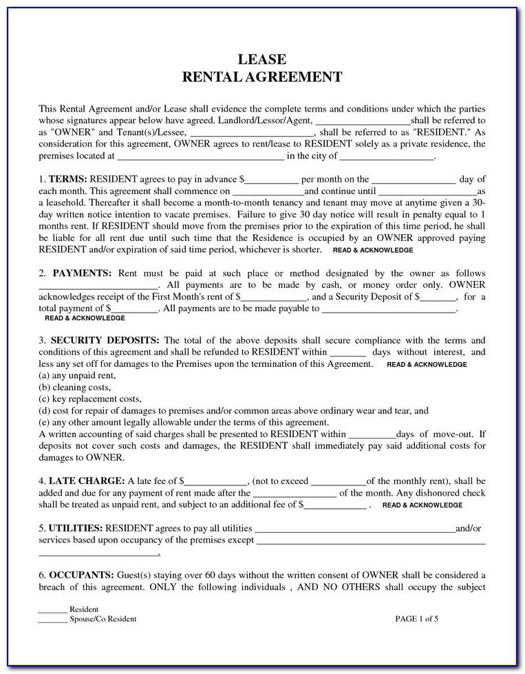Template Residential Lease Agreement