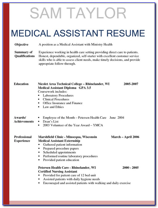 Template Resume For Medical Assistant
