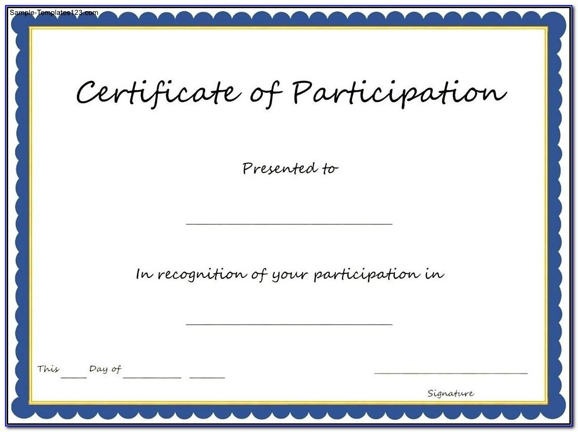 Templates For Certificates Of Participation