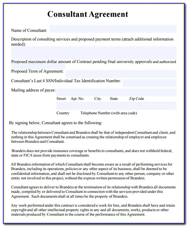 Templates For Consulting Contracts