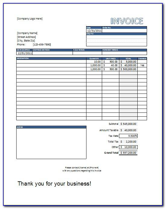 Templates For Invoices Uk