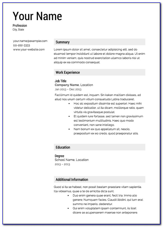 Templates Of Resumes Free