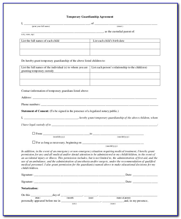 Temporary Legal Guardianship Of A Minor Form