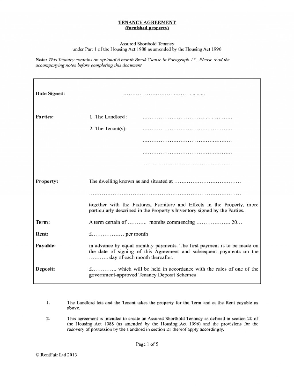 Tenancy Agreement Form Free Download Uk