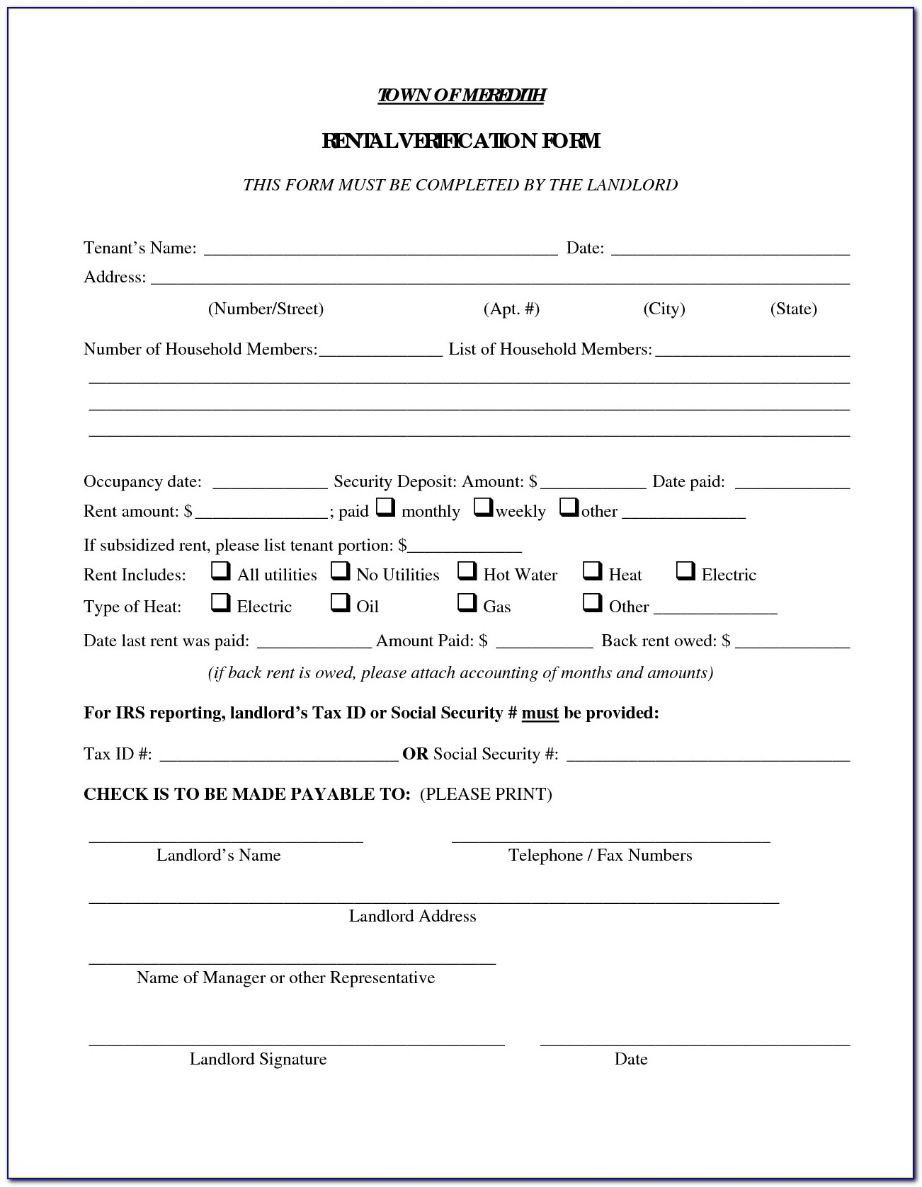 Tenancy Reference Check Form
