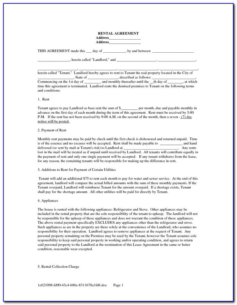 Tenant Lease Agreement Form Manitoba