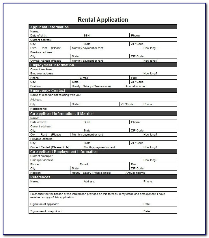 Tennessee Residential Rental Application Forms