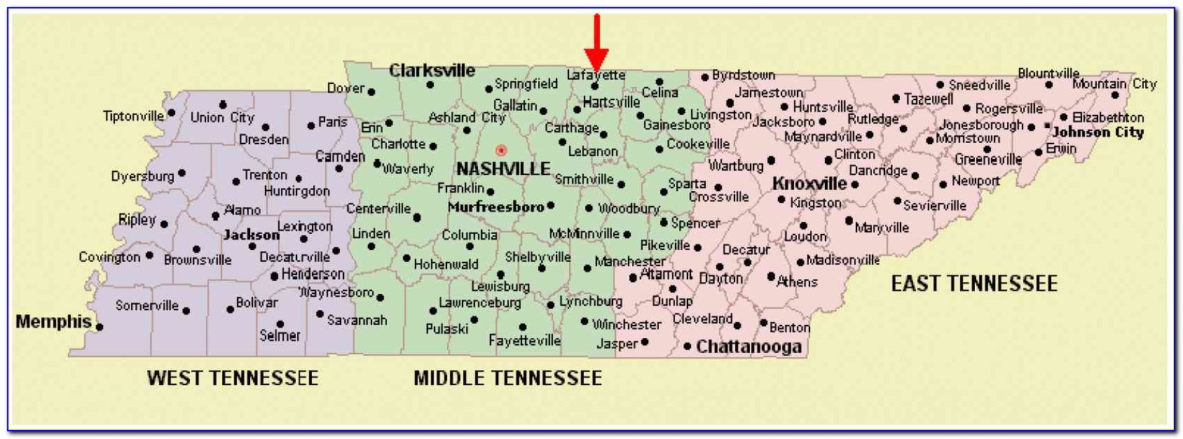 Tennessee State Map Cities