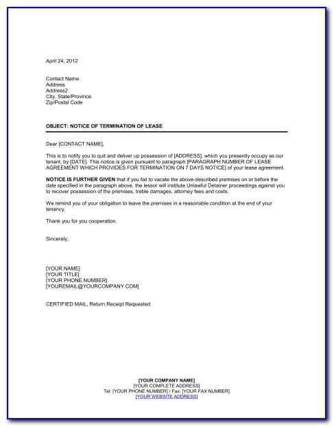 Termination Of Lease Agreement Form Ontario