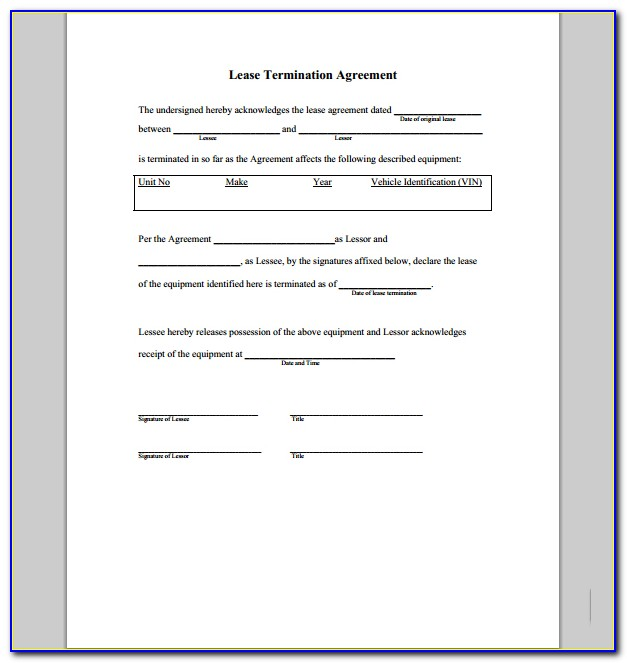 Termination Of Rent Agreement Format
