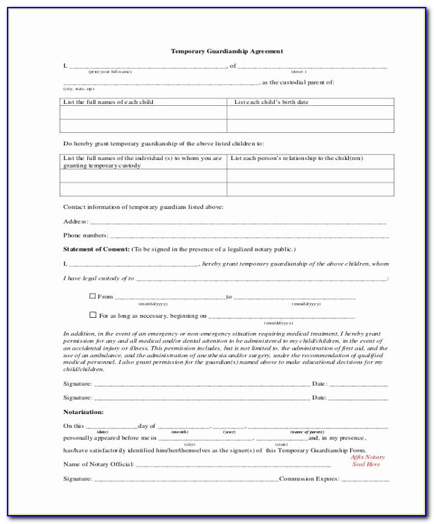 Temporary Guardianship Agreement Form Lovely Legal Guardianship Form Kentucky Minor Child Power Attorney