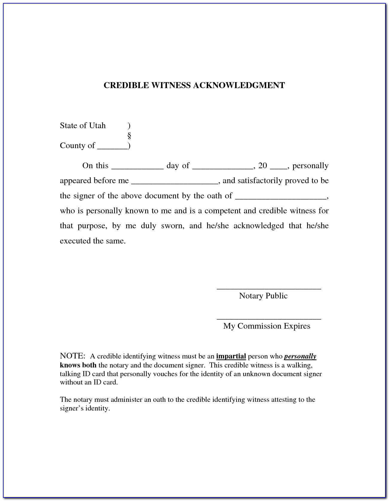 Texas Notary Certificate Of Acknowledgement