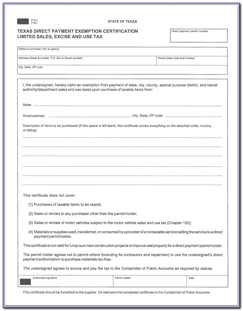 Texas Resale Tax Id Form