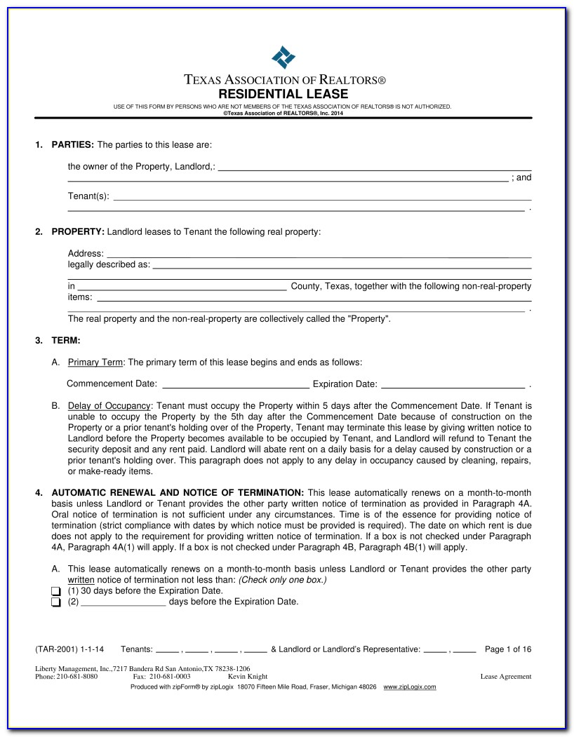 Texas Residential Lease Application Form