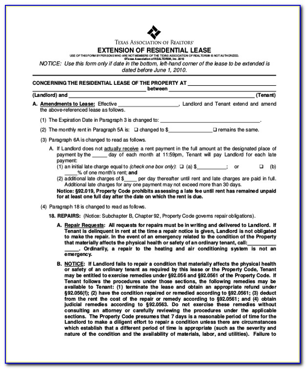 Texas Residential Lease Extension Form 2016