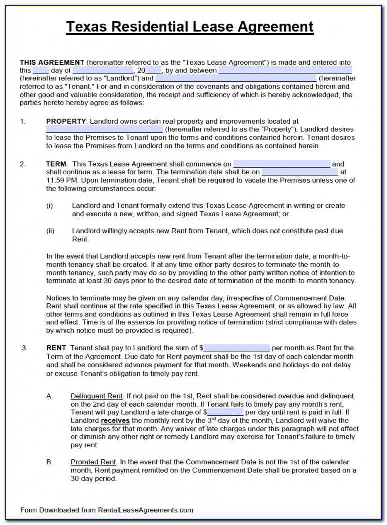 Texas Standard Residential Lease Agreement Form