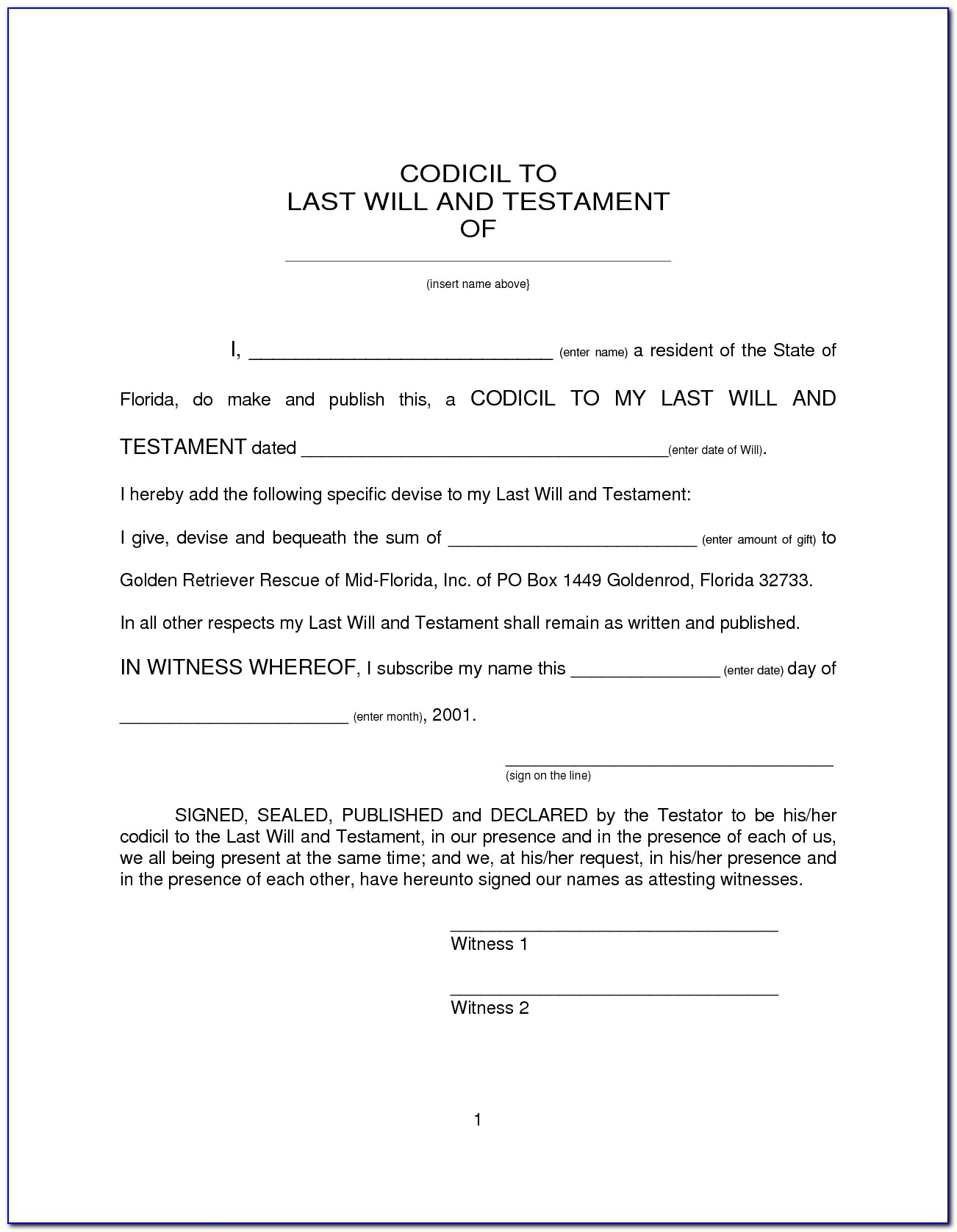 Texas Will And Last Testament Form