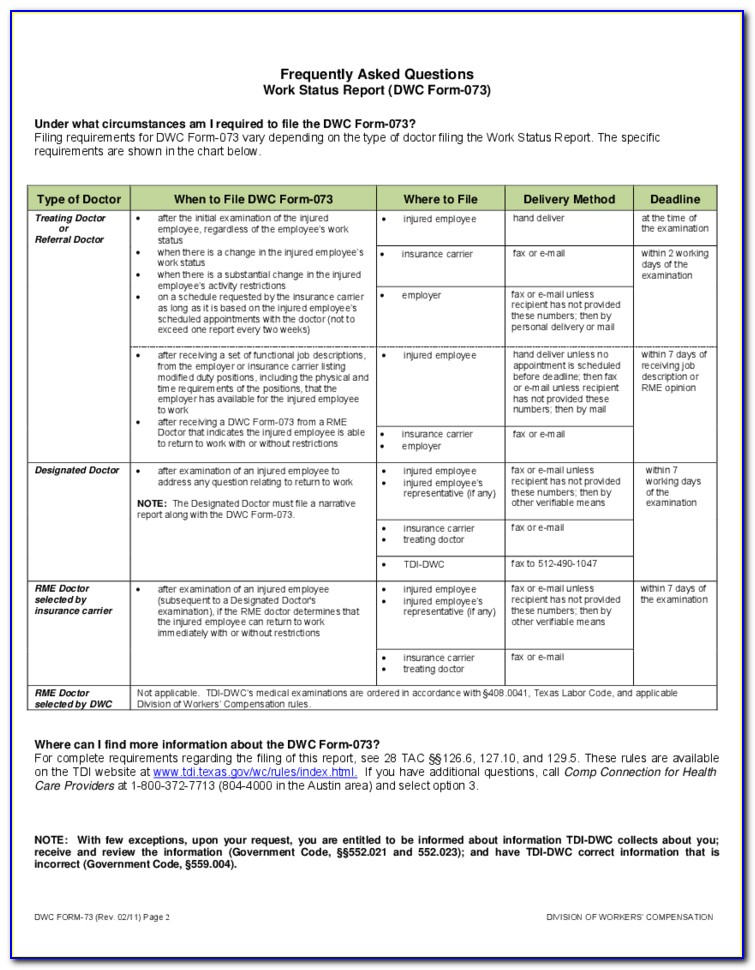 Texas Workers Comp Form 73