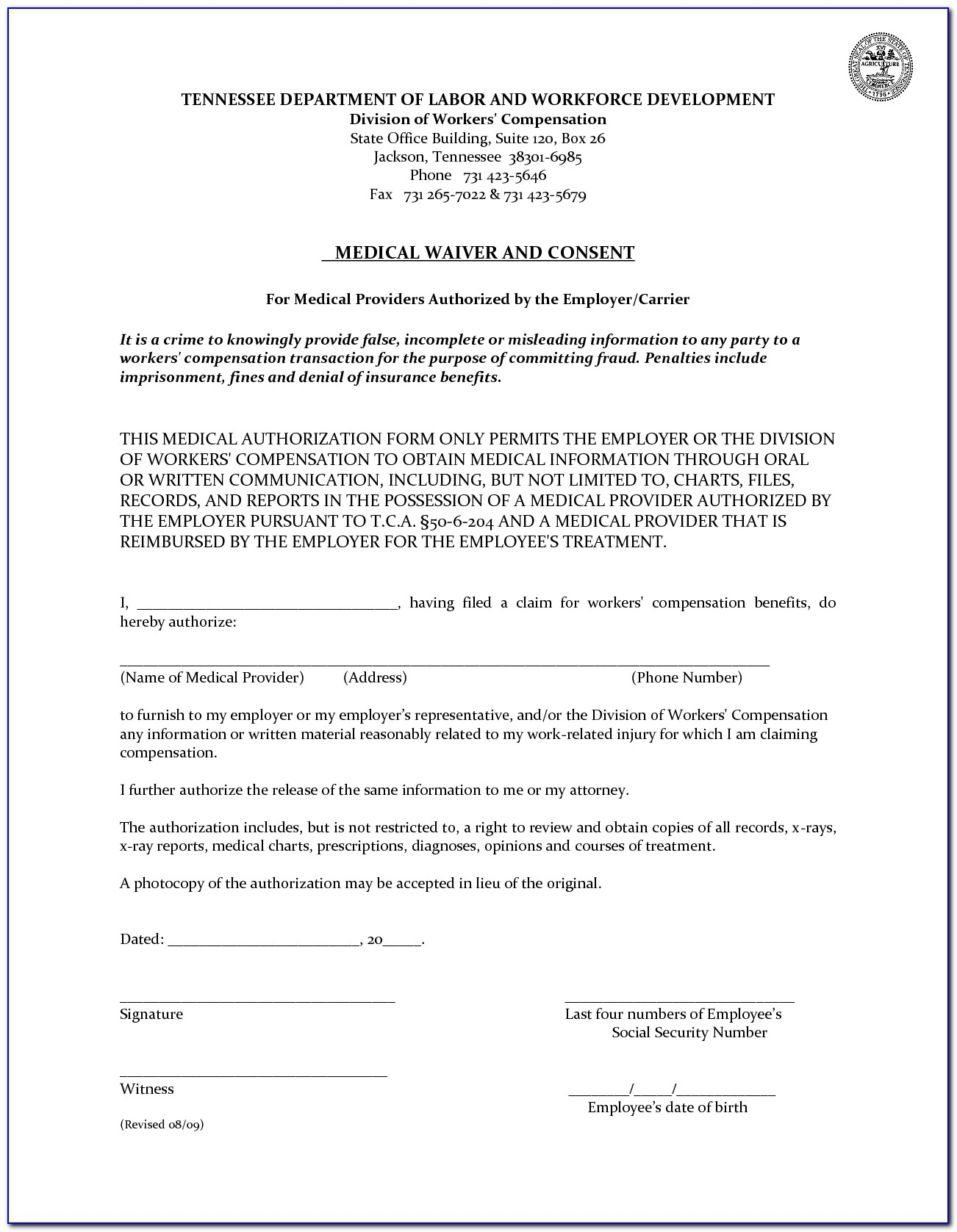 Texas Workers Comp Form 85