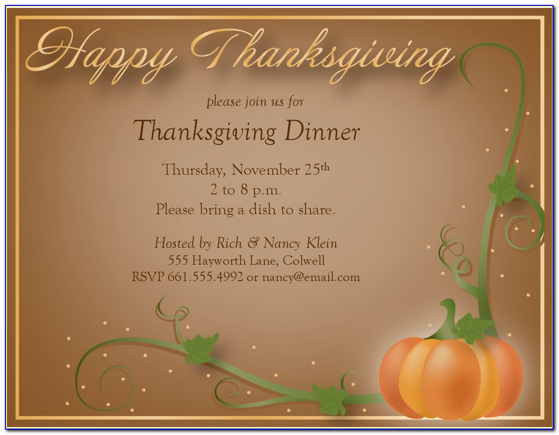 Thanksgiving Dinner Invitation Wording