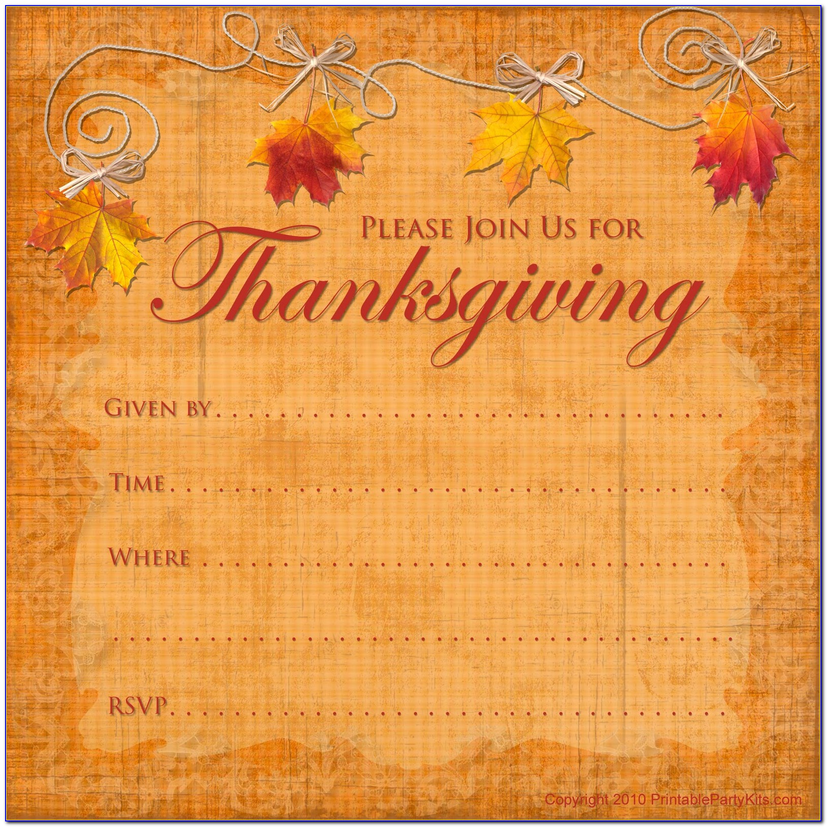 Thanksgiving Potluck Dinner Invitation Wording