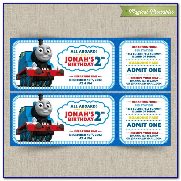 Thomas The Tank Engine Invitation Templates Free
