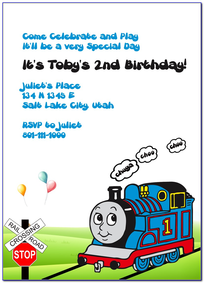Thomas The Tank Engine Party Invite Template