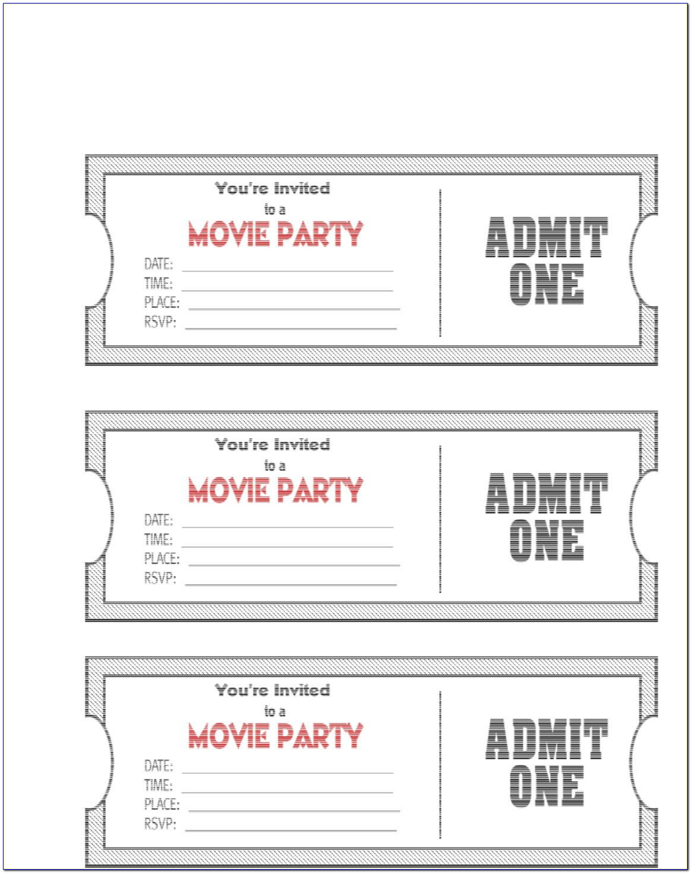 Ticket Party Invitation Template Free