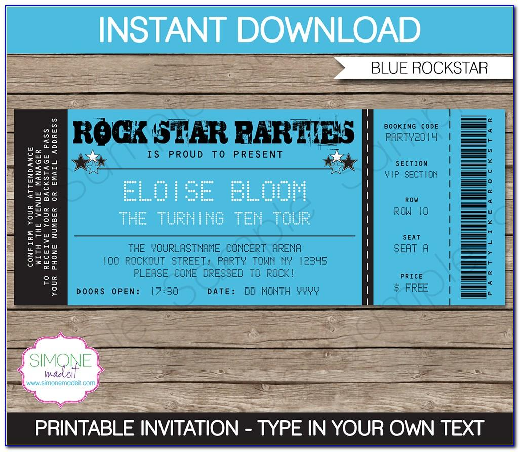 Ticket Wedding Invitations Template