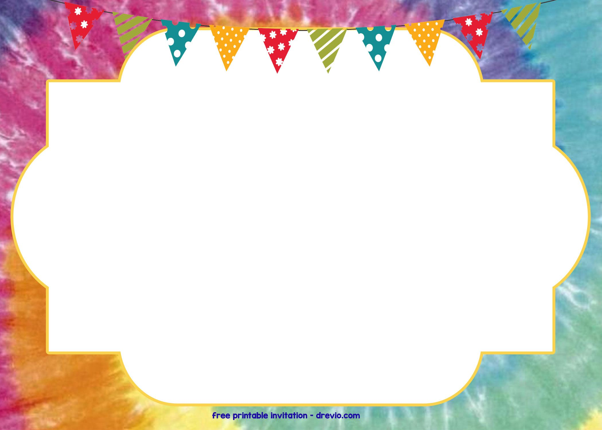 Tie Dye Invitation Template Free