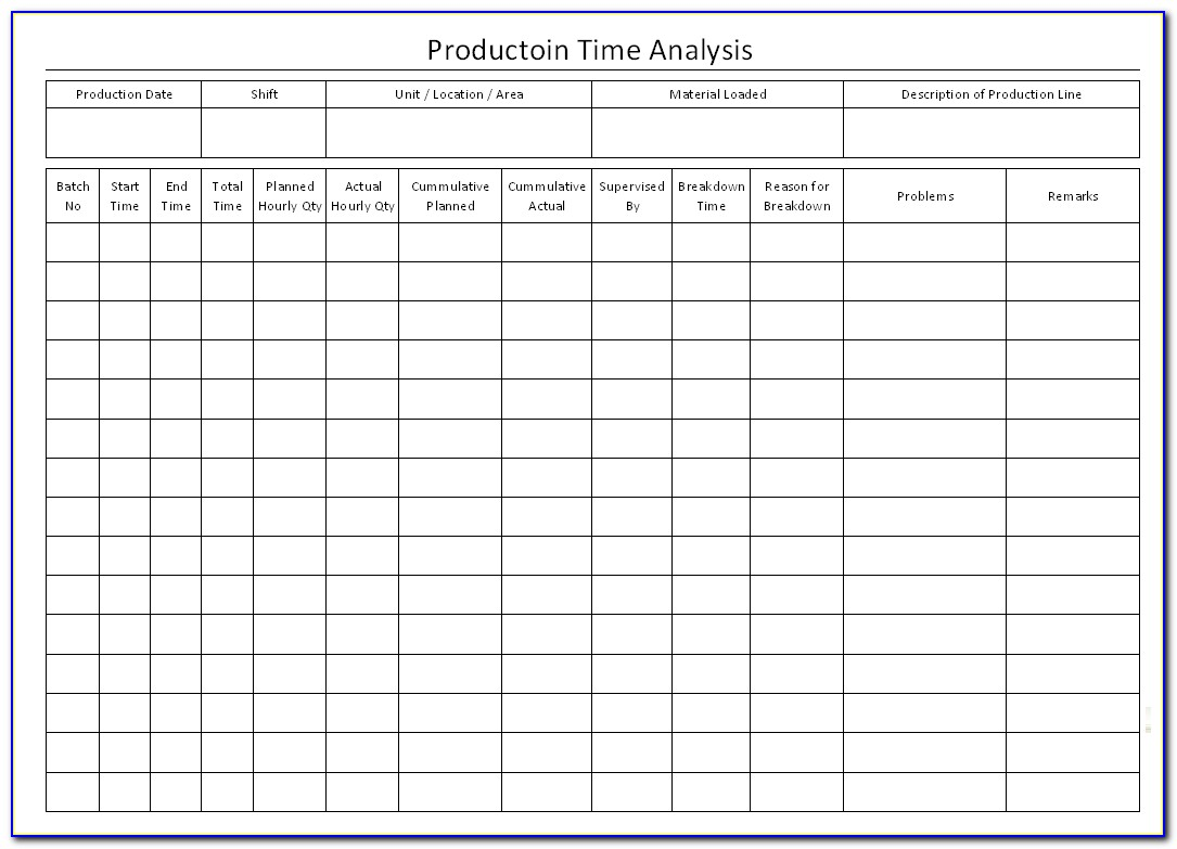 Time Analysis Template Excel