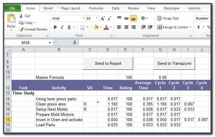 Time Study Format Excel