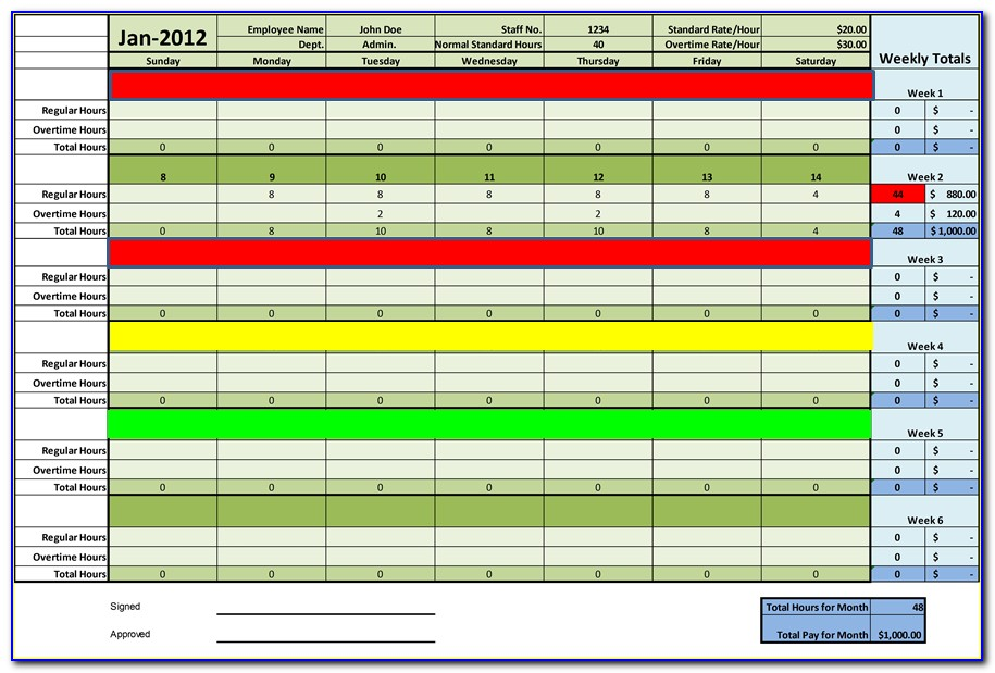 Timesheet For Employees Template Excel