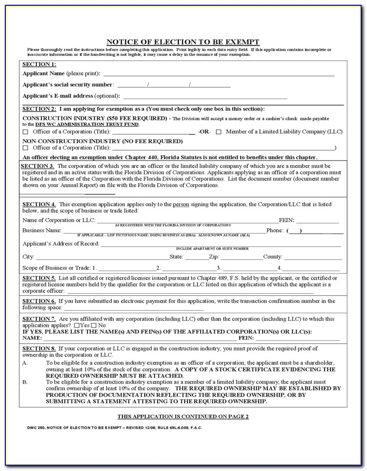 Tn Workers Comp Exemption Form