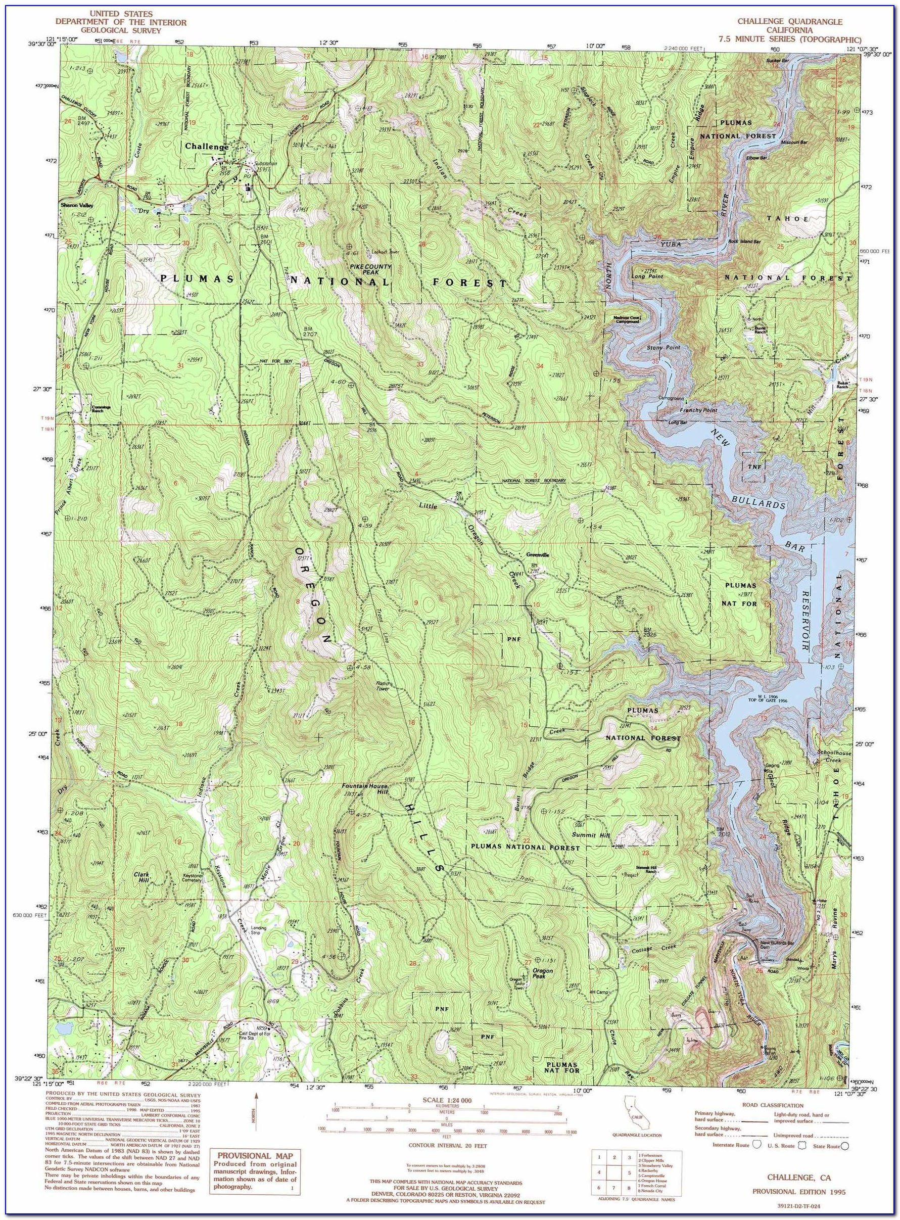 Topo Map Of California