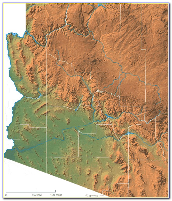 Topographic Map Of Arizona State