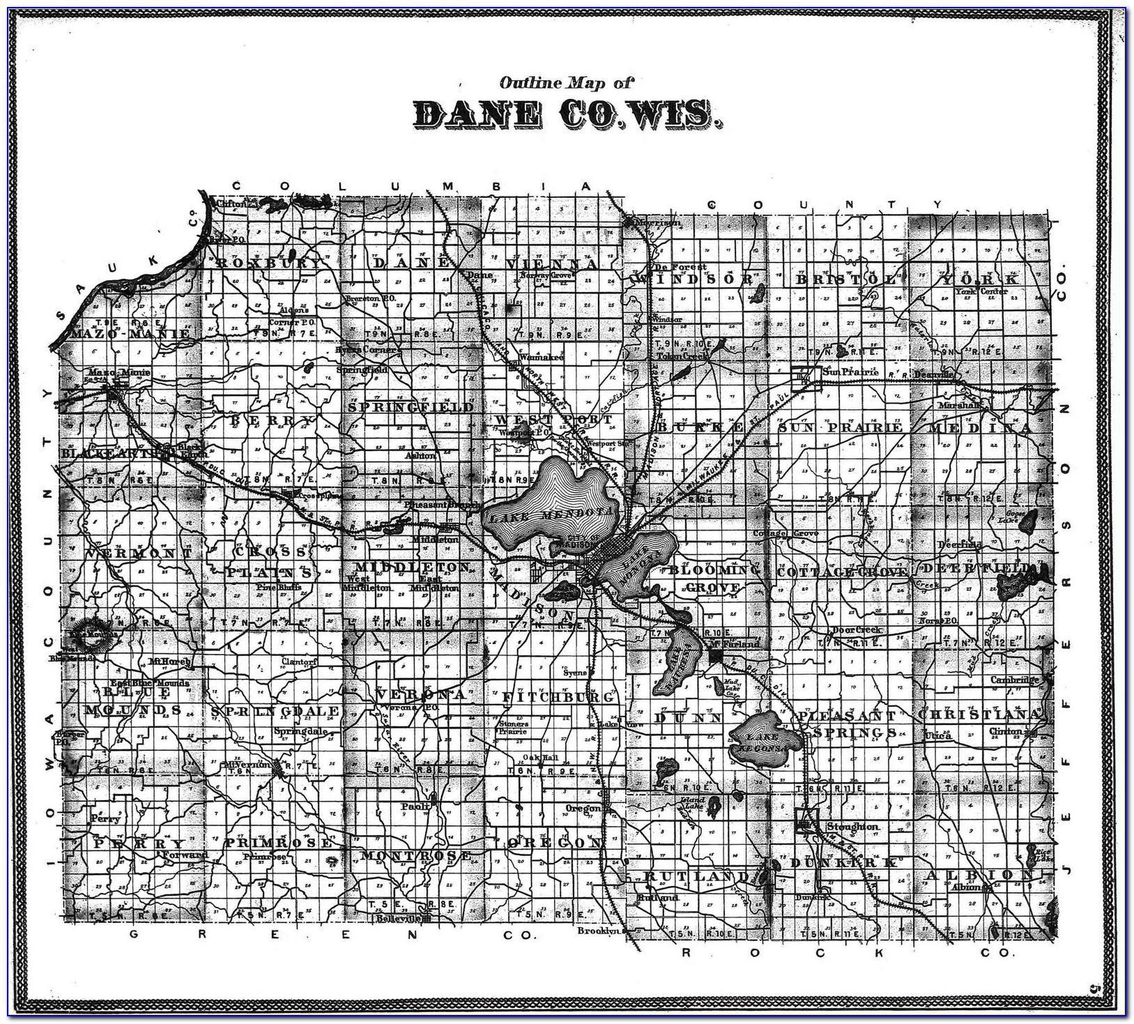 Topographic Map Of Dane County Wisconsin